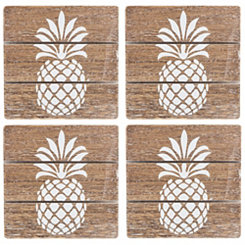White Pineapple Natural Wood Square Coasters