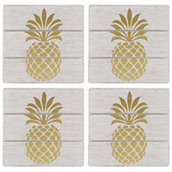 Gold Pineapple White Wood Square Coasters