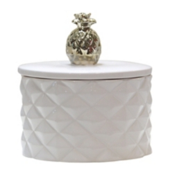 White Trinket Box with Gold Pineapple Finial