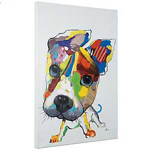 Playful Pooch Hand Painted Canvas Art Print