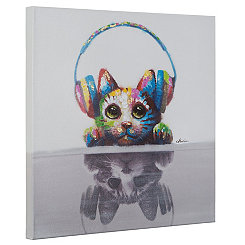 Cat Beats Hand Painted Canvas Art Print