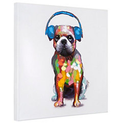 Dog Beats III Hand Painted Canvas Art Print