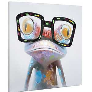 Hipster Froggy II Hand Painted Canvas Art Print