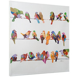Birds on a Wire II Hand Painted Canvas Art Print