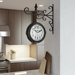 Vintage Scrolled Black and White Wall Clock