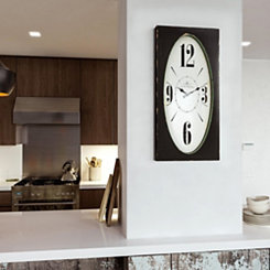 Speakeasy Distressed Brown Rectangular Wall Clock