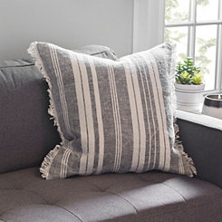 Gray Wide Stripe Fray Pillow
