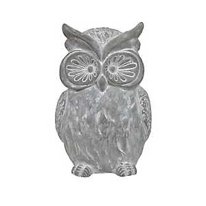 Distressed Gray Owl Garden Statue