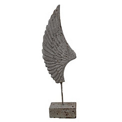 Gray Resin Wing Statue on Stand
