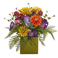 Mixed Floral Arrangement in Green Planter