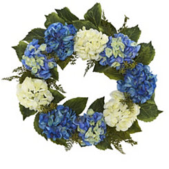 Blue and White Hydrangea Wreath