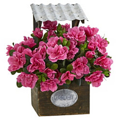 Pink Azalea Arrangement in Wood Planter