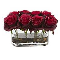 Blooming Red Roses Arrangement in Glass Vase