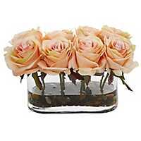 Blooming Orange Roses Arrangement in Glass Vase