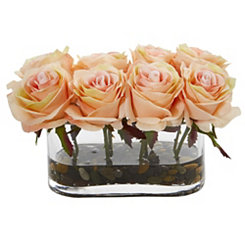 Blooming Orange Roses Arrangement in Glass Vase