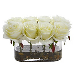 Blooming White Roses Arrangement in Glass Vase