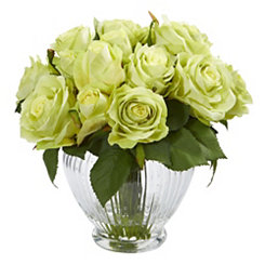 Green Roses Arrangement in Glass Vase