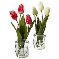 Tulip Arrangements in Mason Jars, Set of 2