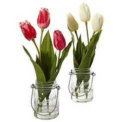 Tulip Arrangements in Mason Jars, Set of 2