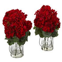 Red Geranium Arrangements in Mason Jars, Set of 2