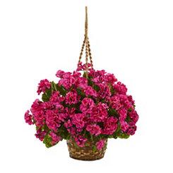 Pink Geranium Arrangement in Hanging Basket