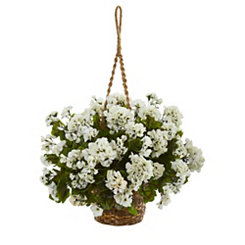 White Geranium Arrangement in Hanging Basket