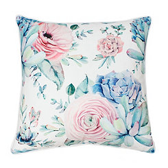 Arianna Bright White Colorful Succulent Pillow