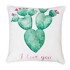 Sandrine Bright White I Love You Succulent Pillow
