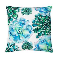 Maribella Bright White Colorful Succulent Pillow
