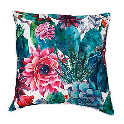 Ray Bright White Colorful Succulent Pillow