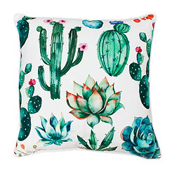 Ellen Bright White Colorful Succulent Pillow