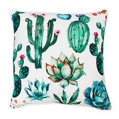 Ellen Bright White Colorful Succulent Pillow