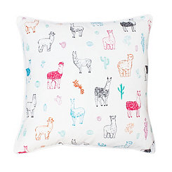 Bright White Lara Llama Succulent Pillow