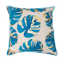 Gold and Turquoise Leaf on Turkish Tile Pillow