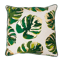 Gold and Green Leaf on Turkish Tile Pillow