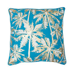 Capri Breeze Blue and Gold Palm Tree Pillow
