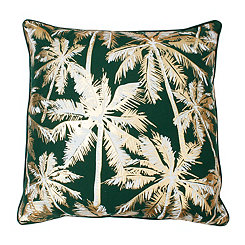 Capri Breeze Green and Gold Palm Tree Pillow