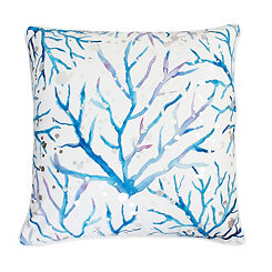 Blue and Purple with Silver Foil Coral Pillow