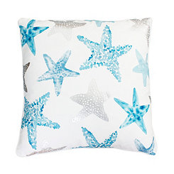 Blue and Purple with Silver Foil Starfish Pillow