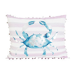 Blue and Purple with Silver Foil Crab Pillow