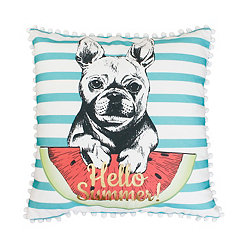 Franco the French Bulldog Aqua Striped Pillow