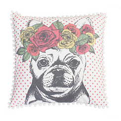 Bella the French Bulldog Coral Polka Dot Pillow