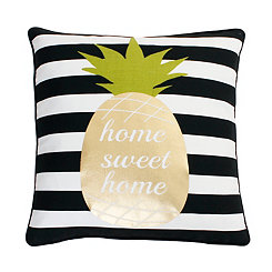 Home Sweet Home Pineapple Striped Pillow