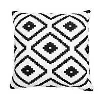 Allister Aztec Embroidered White and Black Pillow