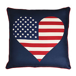 American Flag Heart Reversible Pillow