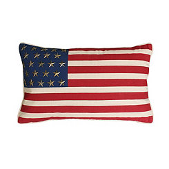 Star-Studded American Flag Accent Pillow