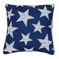 Navy and White Star-Spangled Pillow