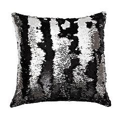 Black and Silver Mermaid Reversible Sequin Pillow