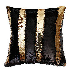 Black and Gold Mermaid Reversible Sequin Pillow