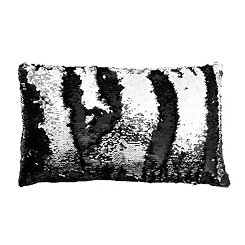 Black and Silver Reversible Sequin Accent Pillow